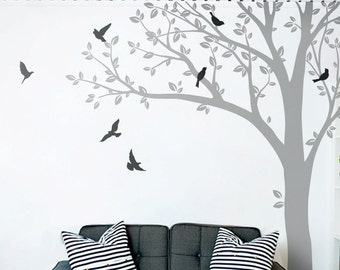 Huge Tree wall decal Wall Decals Mural Stickers Huge Nursery Tree with Leaves and Birds Vinyl Wall Art Tattoo Nature Decor  - 001