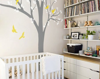 Large Tree Wall Decal Huge Tree wall decals Wall Mural Stickers Nursery Tree and Birds Wall Art Tattoo Nature Wall Decals Decor  - 001