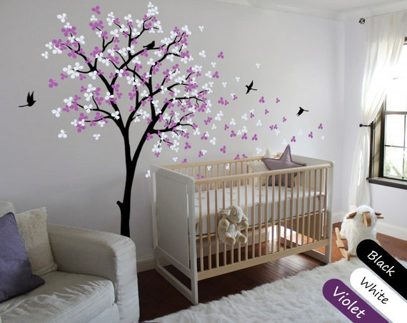 tree wall decal modern baby nursery wall decals baby decal | etsy