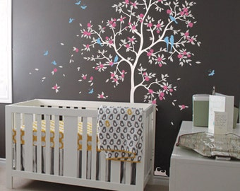 White tree wall decal huge tree wall decals cherry blossom nursery wall decor mural sticker tree wall decoration with birds and leaves 071