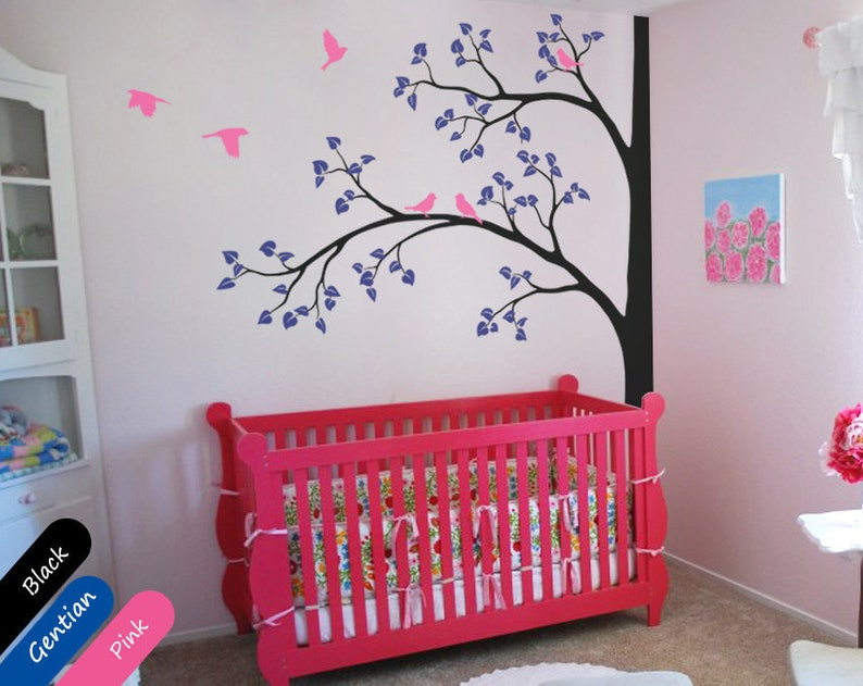 Wall Mural Sticker Nursery Tree Wall Decal 011 Tree wall decal Large Corner Decal with flying birds and leaves for baby/'s room