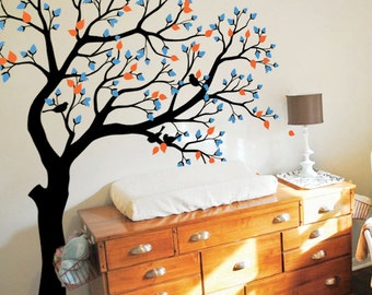 Large Tree wall decal huge tree wall decals nursery wall decor wall mural kids room wall decoration with cute birds and leaves - 068