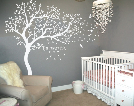 white tree wall decal with birds and custom baby name tree | etsy