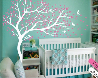 White Tree Wall Decal Wall Art Decor Huge Tree Wall Decals Large Wall Mural Stickers Nursery wall decor Tree and Birds Tattoo - 099