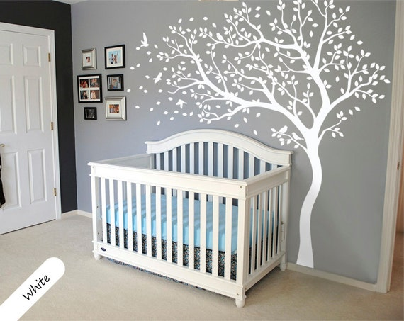 white tree decal huge tree wall stickers nursery tree and | etsy
