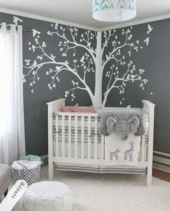 Large Tree Decal Huge White Tree Wall Decal Stickers