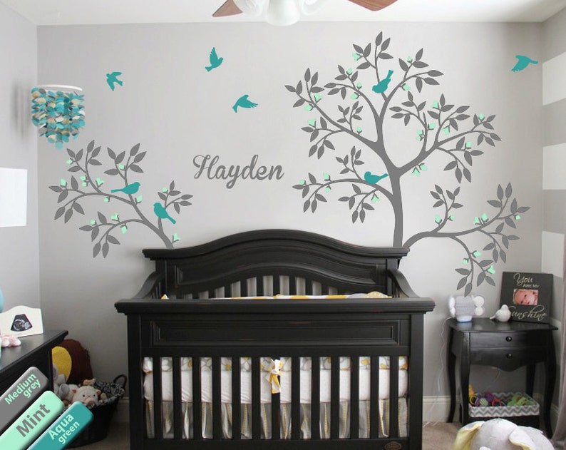 baby name tree wall decal nursery tree decoration baby room | etsy