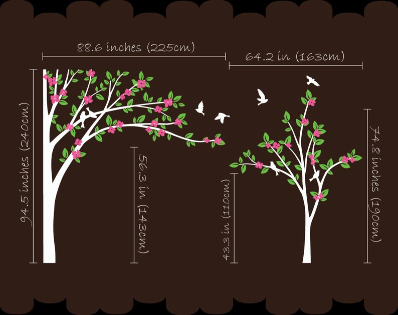 Nursery Tree Wall Decal Corner Tree wall Sticker set Baby Room decor with Flying Birds Leaves and cute Blossoms 029