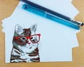 Hipster Orange Tabbie Cat Postcard Set