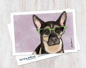 Cute German Shepherd wearing glasses illustrated watercolor postcard art print