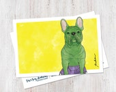 Hulk super hero illustrated French Bulldog  postcard