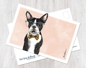 Cute Boston Terrier wearing glasses and bowtie illustrated watercolor postcard, snail mail, happy mail