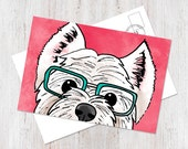 White West Highland Terrier illustrated postcard