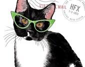 Hipster Tuxedo Cat Postca...
