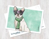 French Bulldog Wearing Glasses and Scarf Postcard