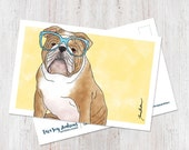 Cute English Bulldog wearing glasses illustrated postcard