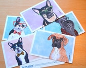 Cute dog postcard set wearing glasses watercolor illustrated art print snail mail