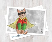Cute orange tabby cat robin super hero watercolor postcard (1 Postcard)