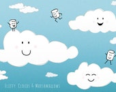 Cute illustrated fluffy clouds and marshmallows postcard art print
