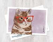 Orange tabby cat wearing glasses illustrated postcard art print