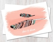 Hand drawn inspirational feather illustrated postcard set | dare to dream | art print