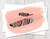 Boho chic, Motivational postcard, Boho chic postcard, Feather postcard, snail mail, pen pals, happy mail, cute stationery