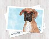 Cute Boxer wearing glasses illustrated watercolor postcard art print