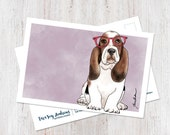 Basset Hound wearing glasses illustrated postcard