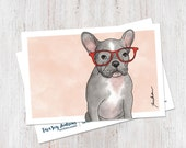 Cute French Bulldog Illustration, Postcard, Stationery, dog art, dog print