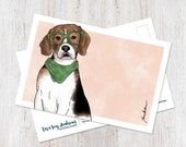 Beagle wearing glasses postcard