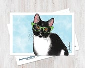 Cute illustrated hipster cat wearing glasses watercolor postcard art print