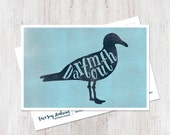 Modern typographic east coast Dartmouth Nova Scotia seagull postcard art print