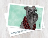Miniature Schnauzer illustrated postcard art print