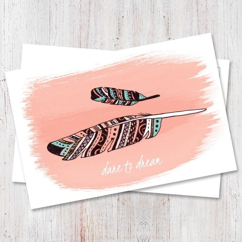Boho chic Motivational postcard Boho chic postcard Feather image 1