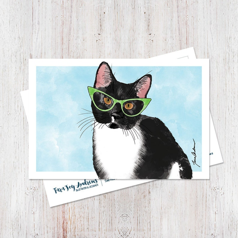 Cute illustrated hipster cat wearing glasses watercolor image 0