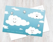 Clouds cute postcard