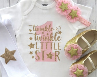 269801789 Twinkle Twinkle Little Star First Birthday Onesie in pink and gold - girl  birthday, twinkle shirt, star one birthday, star shoes pink gold