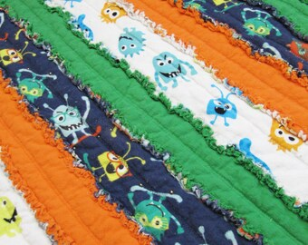Jelly roll boy etsy monster toddler or baby size rag quilt orange green navy toddler blanket baby boy quilt alien jelly roll quilt fandeluxe Image collections