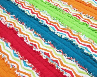 Jelly roll boy etsy unisex jelly roll rag quilt for babytoddler green blue orange red baby shower gift striped blanket fandeluxe Image collections