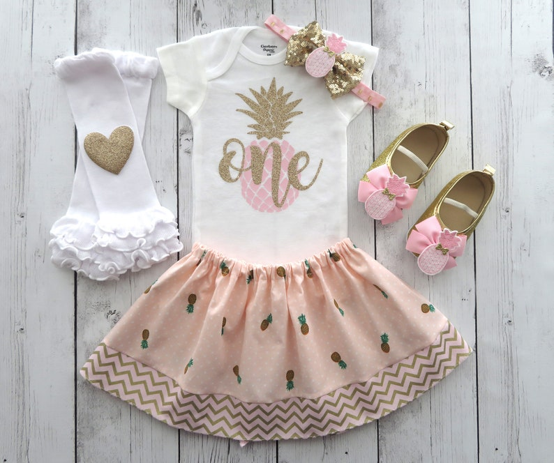 298e7de5fada Pineapple First Birthday Outfit in Pink and Gold Luau