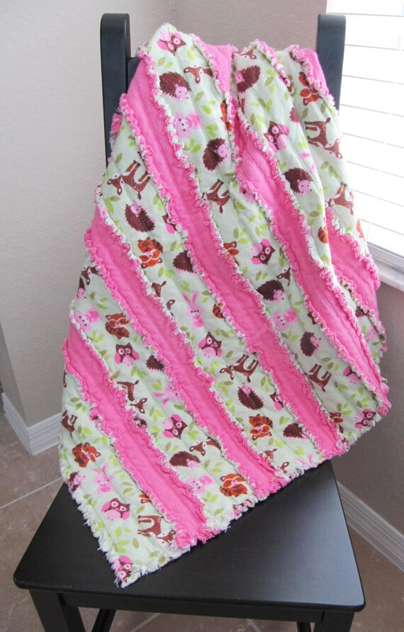 Woodland Animal Jelly Roll Rag Quilt In Pink And Green Baby Etsy