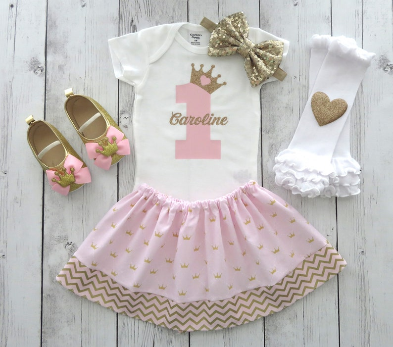 princess crown girl 1st birthday pink and gold first birthday outfit personalized Princess First Birthday Outfit in pink and gold