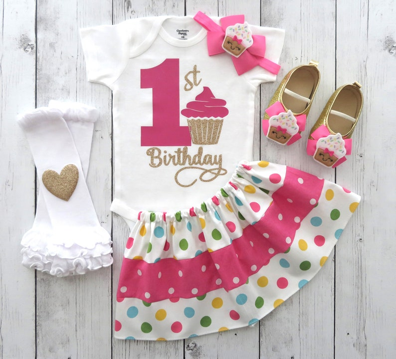 a43f96bd87bc SALE Cupcake First Birthday Outfit for Girl with polka dot | Etsy