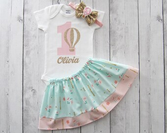 Hot Air Balloon First Birthday Outfit in mint pink and gold - girl birthday outfit, cake smash, pink gold, hot air balloon birthday outfit
