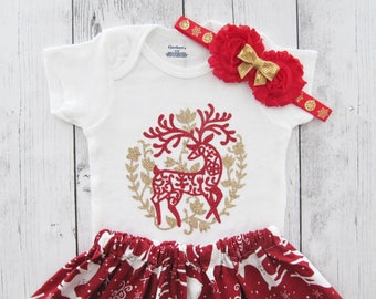 Reindeer Christmas Outfit - First Christmas, girl christmas dress, Christmas photos baby, holiday party dress, christmas gift