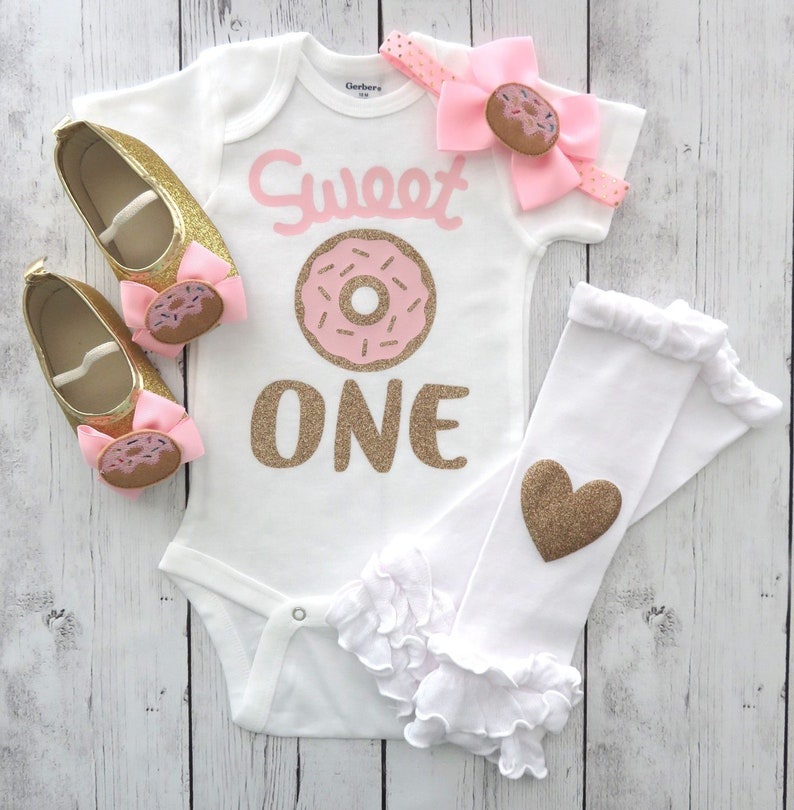 e9753c36a Sweet One Donut First Birthday Onesie pink gold mint | Etsy