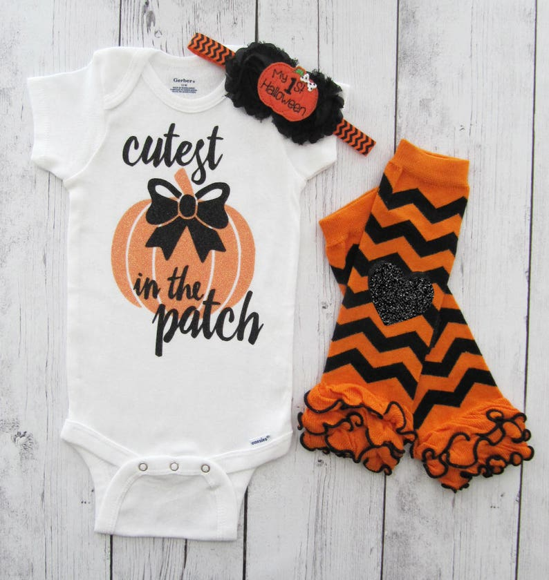 8a12b29c6002 Cutest Pumpkin in the Patch Onesie baby girl halloween | Etsy