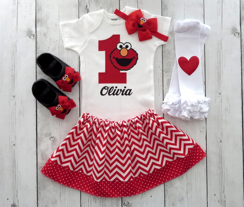 7333c3e9b Elmo First Birthday Outfit for Baby Girl one year old first | Etsy