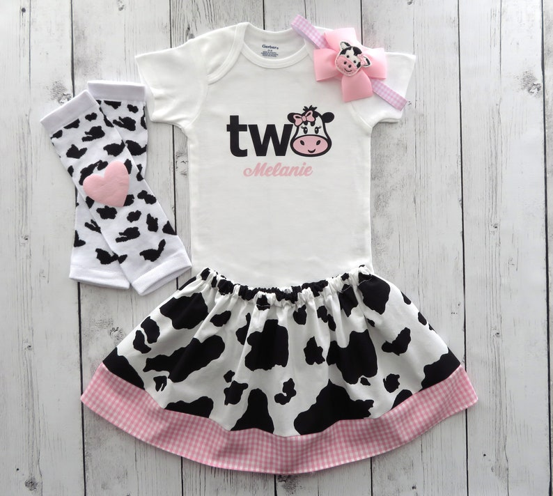 383be7e31 Cow Two Birthday Outfit in Cow print and Pink Gingham onesie