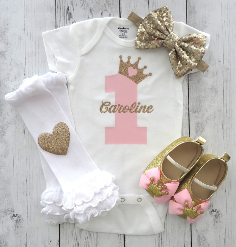 Princess First Birthday Outfit in pink and gold pink and gold first birthday outfit princess crown girl 1st birthday personalized